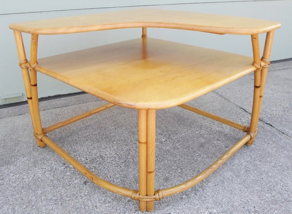Charming Heywood Wakefield Ashcraft Line Two Tier Corner Table Side Table With Heywood  Wakefield Table