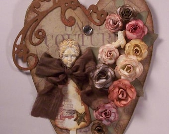 Sale~ 25% off~ Shabby Vintage Heart Wall Hanging Home Decor with Dressform and Roses