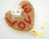 hanging grass heart, weddings party, decoration, country farm wedding, lady bug, love, daisies, clothespins, photo prop, outdoor wedding