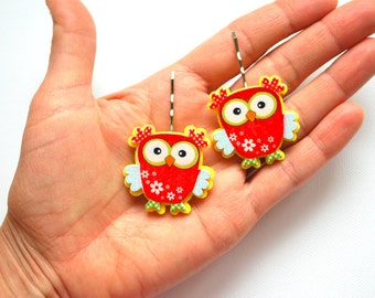Two Cute Owls on Bobby Pins, Children Hair Accessories, Owl Bobby Pin Hair Clip, Woodland Red Owl, Gift Idea for Girls, Flower Girl, Kawaii
