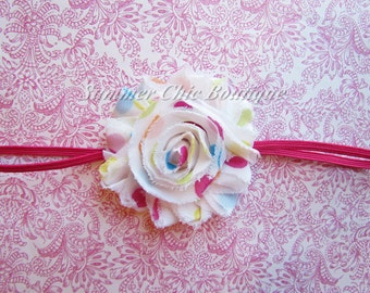 Shabby Chic Headband White Polka Dot Rosette on skinny elastic