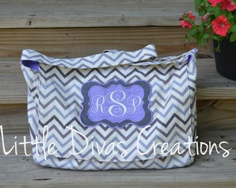 Handmade lavender and grey chevron messenger bag