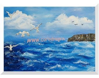 A Seagull's View (George's Head, Kilkee, Co. Clare) - Original Irish Acrylic Painting by Artist CORINA HOGAN