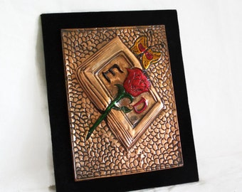 Initials E and D, copper plaque, single red rose repousse. Easel stand, Unique gift, one of a kind, rectangular. Names with letters E. & D.