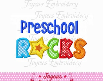 Instant Download Back To School Preschool Rocks Applique Embroidery Design NO:1551