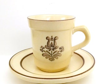 Pfaltzgraff Village Coffee Cup and Saucer Stoneware DemitasseYellow and Brown Espresso 1976