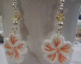 White Cherry Blossom Earrings