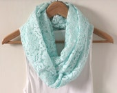 Mint Lace Infinity Scarf, Summer Loop scarf, Circle Scarf, Eternity Scarf