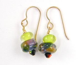 Green Black Earrings, Lime Green Boro Lampwork Earrings, Green Gold Black Glass Bead Earrings, Bright Color Dangle Earrings