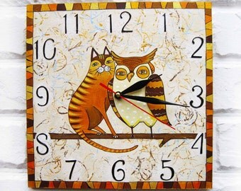 The Cat and Owl Wall Clock, Home Decor for Children Baby Kid Boy Girl