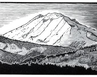 Print - Mount Adams, Wood Engraving