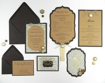 Victorian Book Page Wedding Invitation and Stationery Package