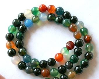 7 mm Multi-Color Agate Semi Precious Gemstone Beads