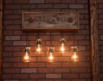 Mason Jar Fixture With Reclaimed Wood and 5 Pendants. R-26W-CMJ-5