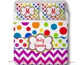 Custom Polka Dot Chevron and Flowers - Multi Bright Color Bedding, Duvet or Comforter - Fun Funky Girls Monogrammed Bedding
