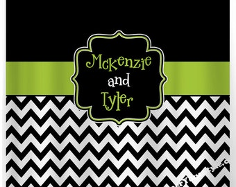 Black and Lime - Chevron  Shower Curtain, Custom Monogrammed Curtain - Any Color Design Your Own Shower Curtain