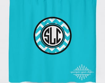 Custom Designed Chevron Monogrammed-Aqua and Black Shower Curtain, Boys and Girls Bathroom, Personalized, Create and Design Your Own Curtain