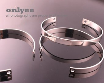 2PCS-66mmX6.5mmHigh Quality Nickel Free And Lead Free Rhodium Plated Brass Blank Bangles of Deco Bracelet (E339S)