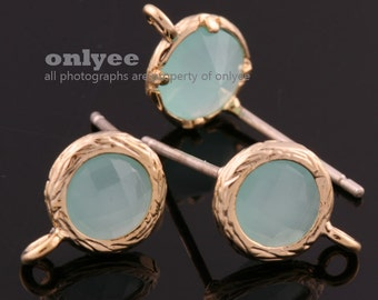 2pcs/1 pair-Gold plated faceted small round glass 925 sterling silver post earrings-Mint(M327G-E)