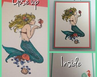 Set of 4 Mermaid Cards