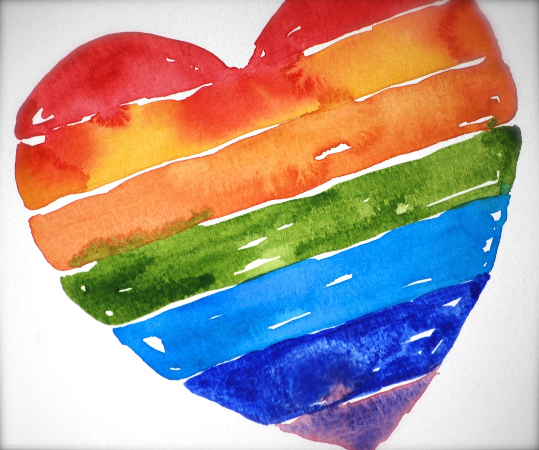 Rainbow Heart Watercolor LOVE ART Red Orange Yellow Green