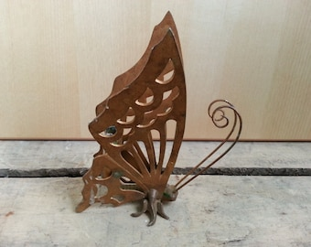 Vintage metal Butterfly Candle Holder, Pen Holder