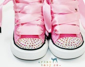 Infant, Toddler, Baby Girl High Top Pink Converse® All Star® Chuck Taylor's® With Pink Ribbon Laces & Swarovski® Crystal Rhinestones
