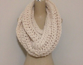 Super chunky wool blend infinity scarf-fisherman