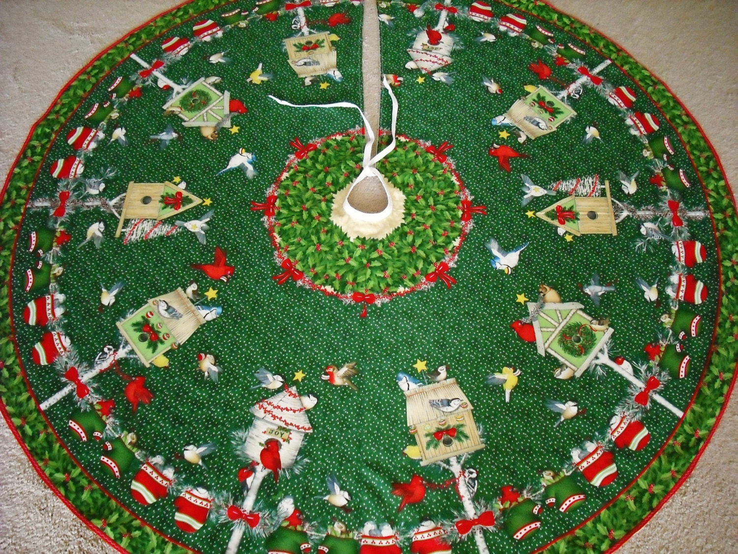 Christmas tree skirt handmade birds bird houses cardinals