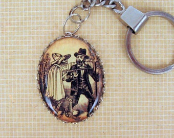 """Dia de Los Muertos""""Day of the Dead""""   Keychain - Antique Silver Setting - Great Gift"""