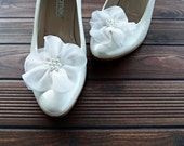 Ivory Chiffon Flowers Shoe Clips