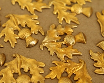 2 pc. Large Raw Brass Thistle Stampings: 30mm by 31mm - made in USA | RB-267
