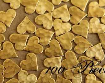 100 pc. Raw Brass Hammered Heart: 8mm by 8mm - made in USA | RB-008-5