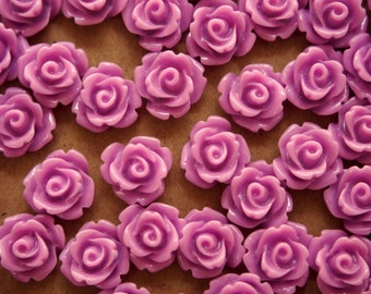 30 pc. Glossy Lilac Rose Cabochon 10mm | RES-381