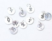 Tiny silver initial charm, hand stamped sterling silver letter charm, tiny initial monogram, custom add-on made to order