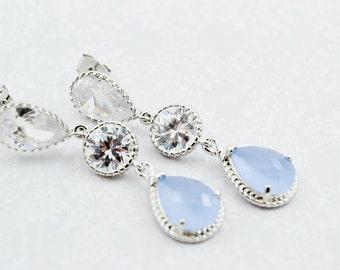 Placid Blue Crystal Earrings, Cubic Zirconia Blue Dangles, Rhodium Dangle, Wedding Earrings, Bride Earrings