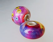 Set of two big hole beads, cored with sterling silver , vibrant pink, bracelet