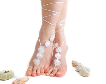 Barefoot Sandal White Little Organza Flowers, White, Wedding Anklet, Beach Wedding Barefoot sandals, Wedding barefoot sandal