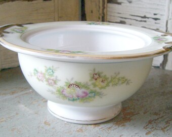 "Vintage Bowl, Floral, Meito, ""Diana"", Asian, Pink, Flowers, Sugar Bowl, Hand Painted"