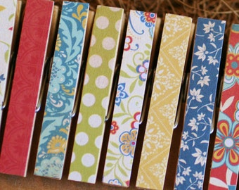 Clothespins, Country Colors, Colonial Prints, Magnet Option, Set of 9