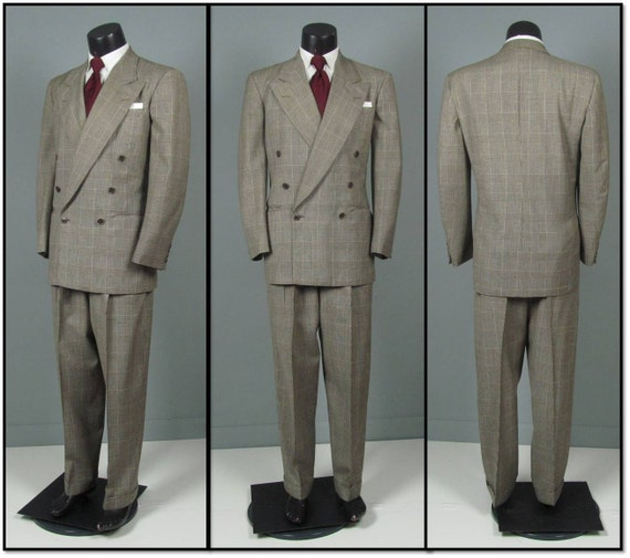 Vintage 1940s Mens Suit Glen Plaid 6 x 1 Double by jauntyrooster