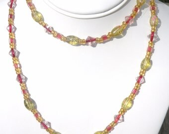 Lengthy Pinks and Yellows, Handmade Beaded Necklace