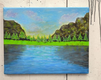 "Original Art Canvas ""On The Lake"" 14x11"" OOAK 100% of the profits go directly to artists with disabilities Item 34 Zaida S."