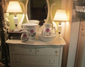 REDUCED Shabby Chic, Antique White, Distressed, Dresser with Mirror,  Local Pick up Only