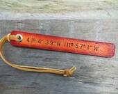 Latitude Longitude, Custom Leather Luggage Tag, Key Ring, Keyring, Key Fob, Bookmark,Personalized,1 line    (