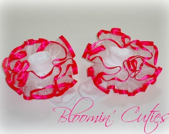 White Organza with Hot Pink Satin Trim Newborn Infant Toddlers and Girls SUPER RUFFLE Socks by Bloomin Cuties Boutique