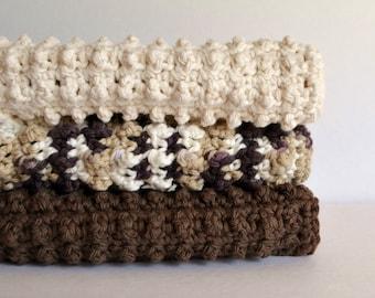 Cotton Crochet Dishcloth 3 Piece Set - Root Beer Float Collection