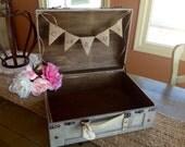 Rustic Wedding Card Box, Burlap Banner, Personalized.