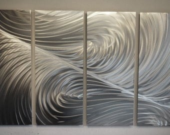 Metal Art Wall Art Decor Abstract Contemporary Modern Aluminum Sculpture Hanging Zen Textured Nature -Echo 36x63