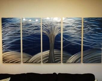 "Metal Wall Art Decor Abstract Contemporary Aluminum Modern Sculpture Hanging Zen Textured- Large 36"" Tree of Life"